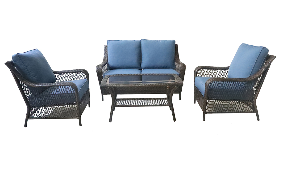 4-piece outdoor living set with loveseat, two chairs and cocktail table with blue quick dry cushions and all weather steel and resin
