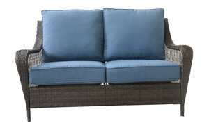 Outdoor loveseat with blue quick dry upholstery cushions and all weather steel and resin frame