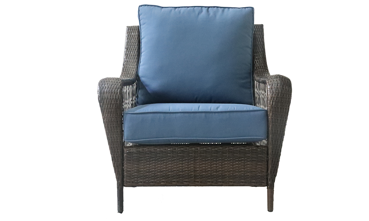 Outdoor chair with blue quick dry upholstery cushions all weather steel and resin frame