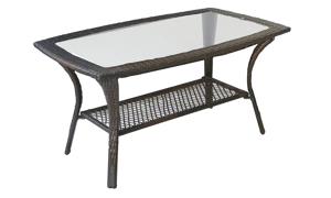 43-inch outdoor cocktail table with glass top and all weather resin wicker body