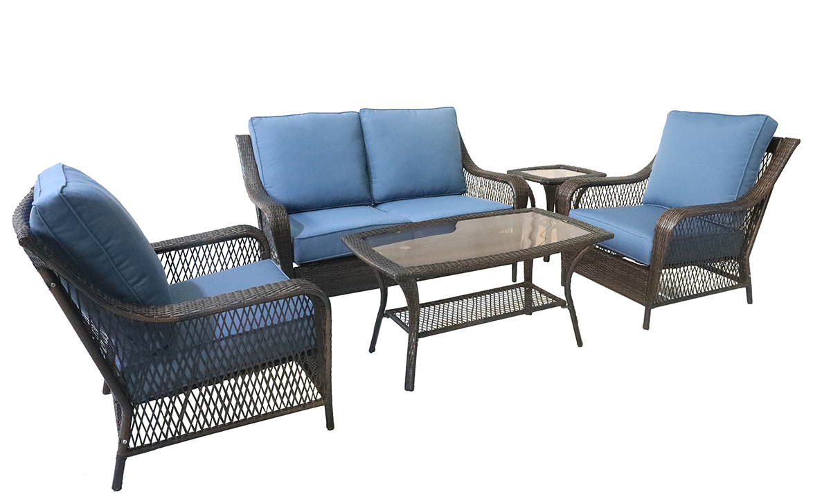 5-piece all weather wicker resin outdoor set with loveseat, two chairs and cocktail table with blue quick dry cushions