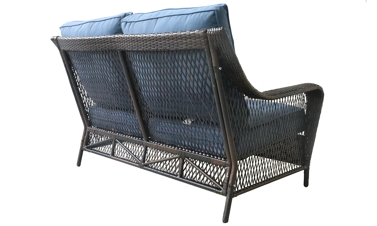 All weather 60-inch resin wicker loveseat with blue quick dry upholstery cushions - Back Shot