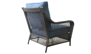Outdoor 33-inch all-weather resin wicker armchair with quick-drying blue cushions - Back Angled View