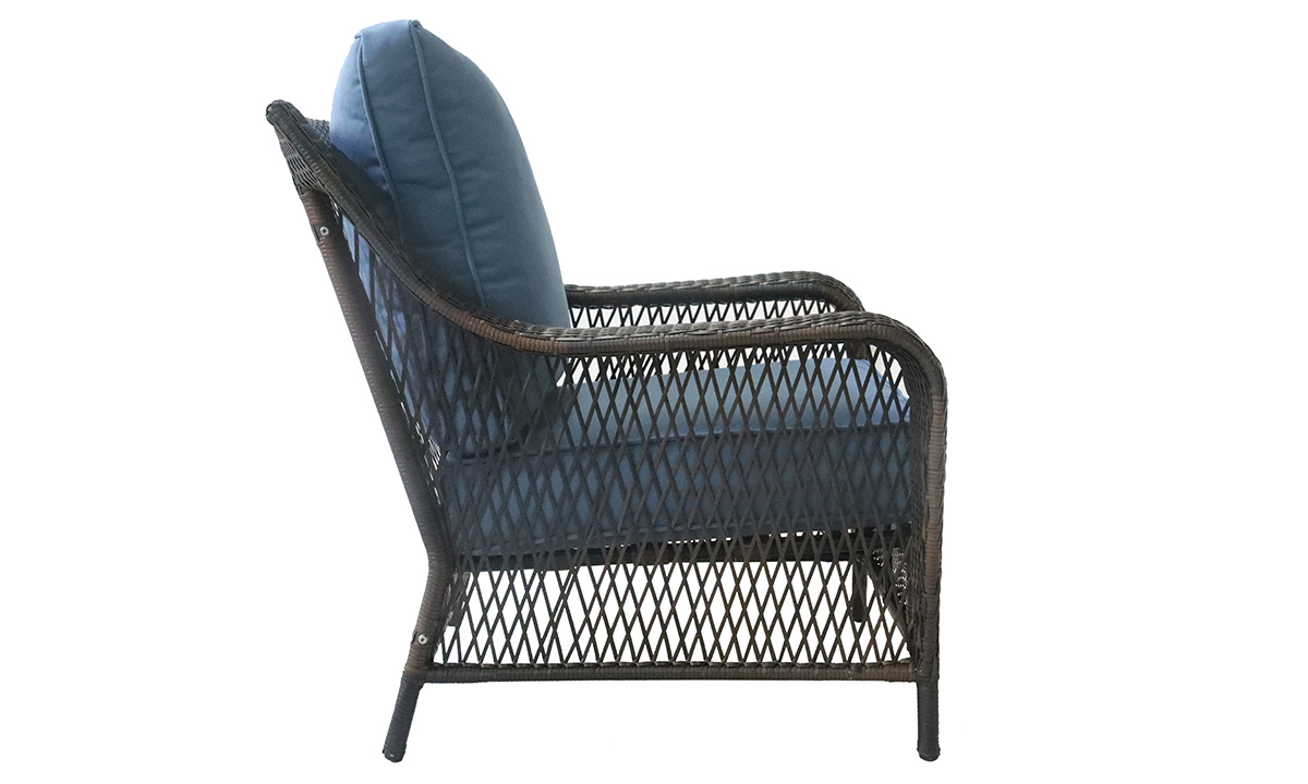 Outdoor 33-inch all-weather resin wicker armchair with quick-drying blue cushions - Side View