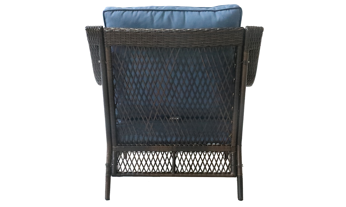Outdoor 33-inch all-weather resin wicker armchair with quick-drying blue cushions - Back View