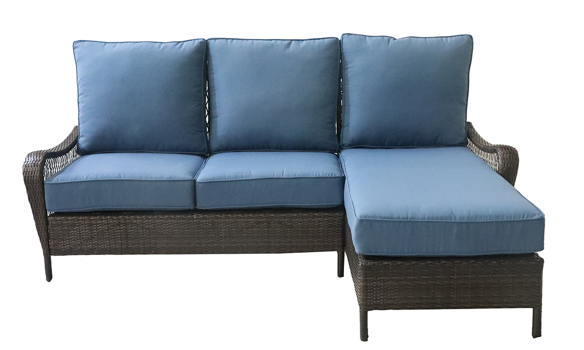 All-weather resin wicker 2-piece sofa chaise with blue quick dry cushions