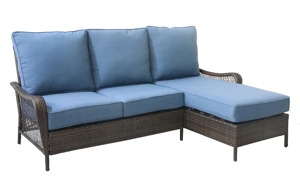 All-weather resin wicker 2-piece sofa chaise with blue quick dry cushions	- angled shot