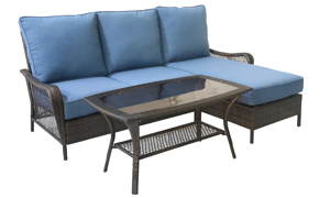 All-weather resin wicker 2-piece sofa chaise with blue quick dry cushions	with cocktail table