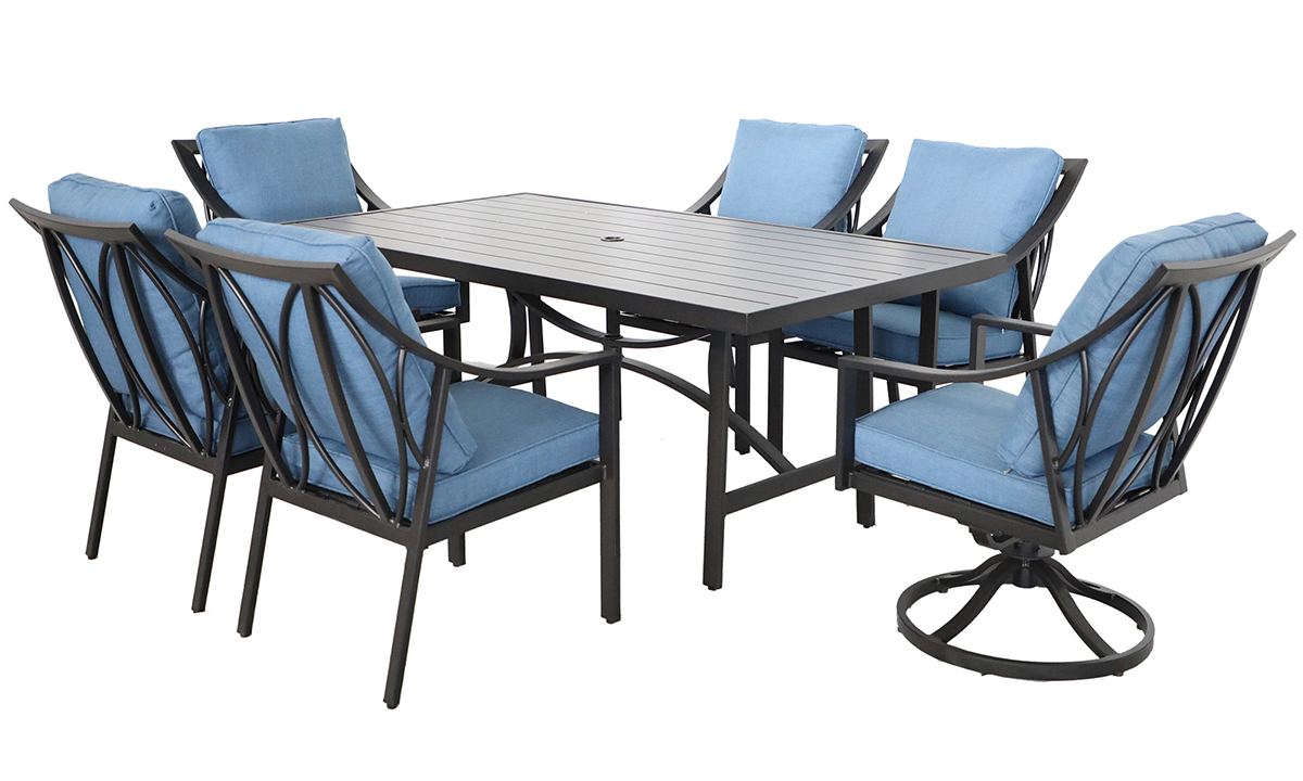 All-weather 7-piece outdoor dining set with 84-inch table, 4 chairs and 2 swivel rockers in aluminum with quick dry blue cushions