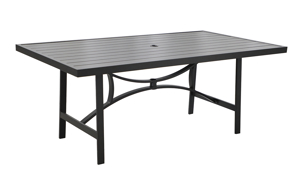 All-weather aluminum 84-inch outdoor dining table with umbrella hole - angled view
