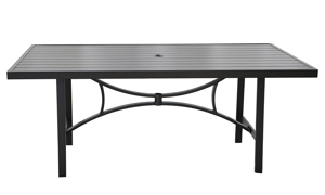 All-weather aluminum 84-inch outdoor dining table with umbrella hole