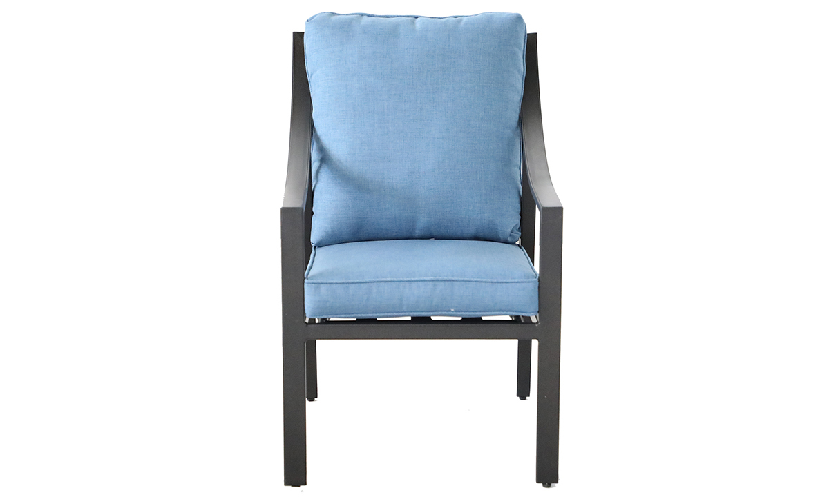 All-weather aluminum outdoor dining chair with blue quick dry cushions- Front View