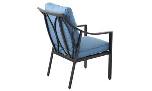 All-weather aluminum outdoor dining chair with blue quick dry cushions- Back side view