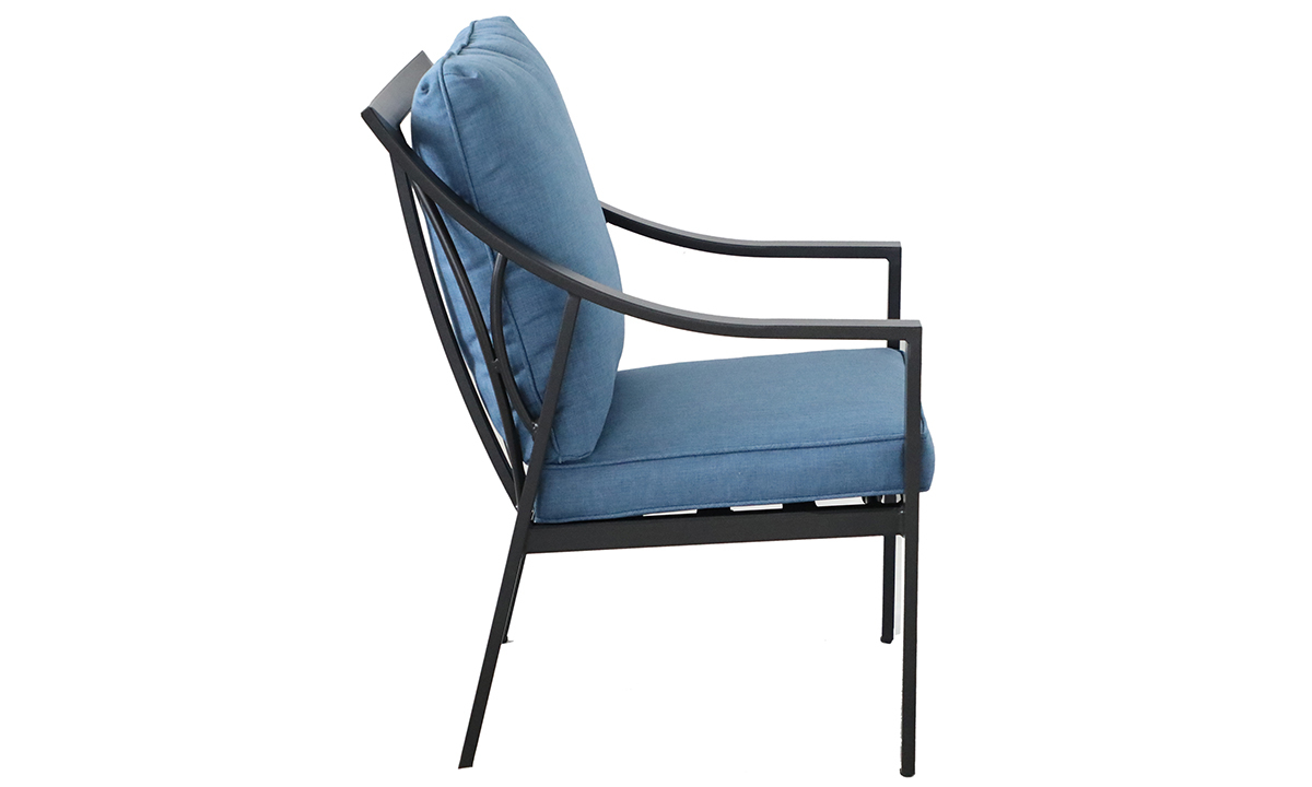 All-weather aluminum outdoor dining chair with blue quick dry cushions- Side View