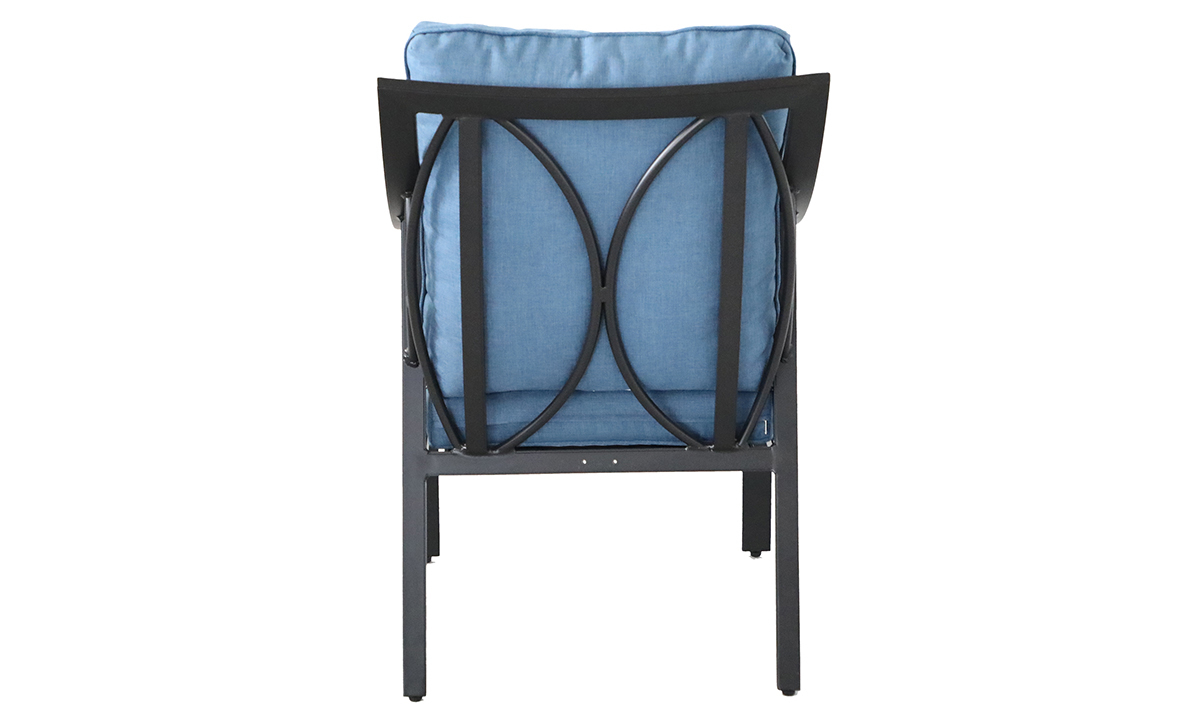 All-weather aluminum outdoor dining chair with blue quick dry cushions- Back View