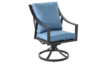 Outdoor all-weather aluminum swivel rocker chair with arms with blue quick dry cushions