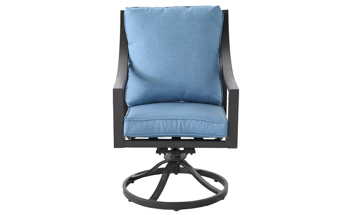 Outdoor all-weather aluminum swivel rocker chair with arms with blue quick dry cushions  - Front View