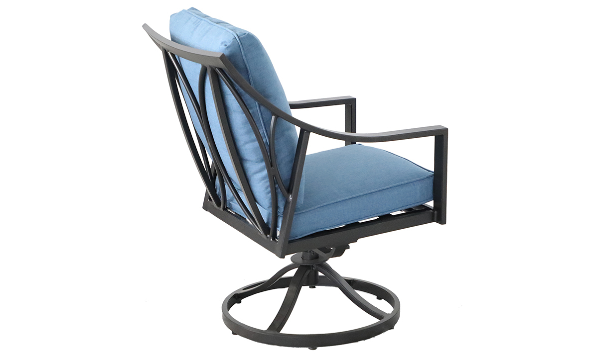Outdoor all-weather aluminum swivel rocker chair with arms with blue quick dry cushions  - Back side view
