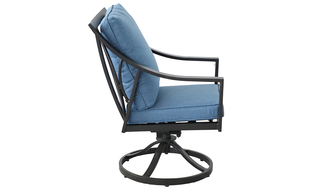 Outdoor all-weather aluminum swivel rocker chair with arms with blue quick dry cushions  - Side View