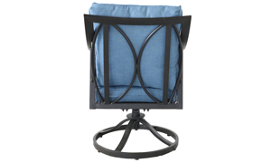 Outdoor all-weather aluminum swivel rocker chair with arms with blue quick dry cushions  -  Back View