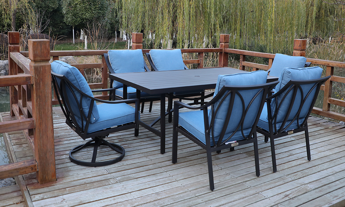 All-weather aluminum 7-piece outdoor dining set with table, 4 side chairs and 2 swivel rocker chairs with blue quick dry cushions