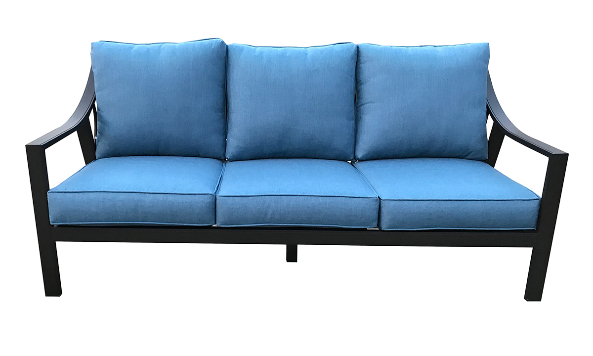 79-inch outdoor sofa with black aluminum frame and all-weather blue cushions - front view