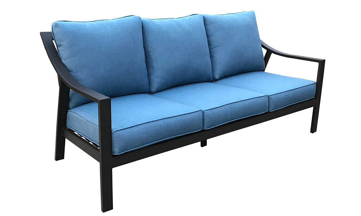 79-inch outdoor sofa with black aluminum frame and all-weather blue cushions - angled view