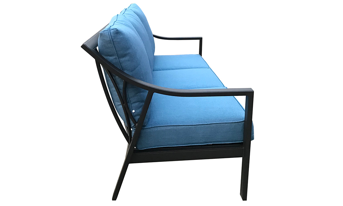 79-inch outdoor sofa with black aluminum frame and all-weather blue cushions - side view
