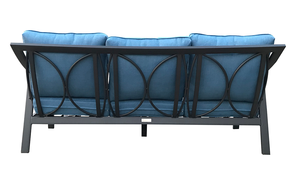 79-inch outdoor sofa with black aluminum frame and all-weather blue cushions - back view