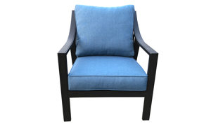 All-weather 30-inch outdoor club chair with black aluminum frame and blue cushions - front view