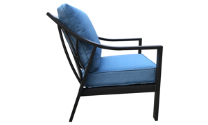 All-weather 30-inch outdoor club chair with black aluminum frame and blue cushions - side view