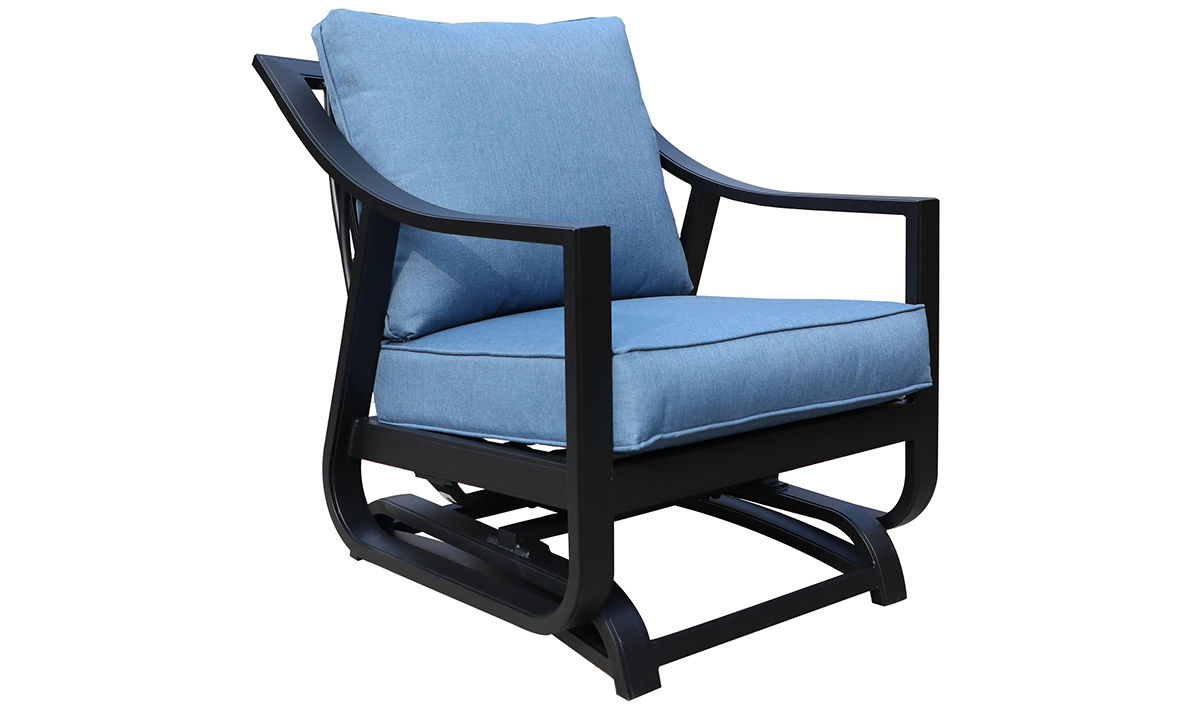 All-weather 30-inch outdoor glider chair with black aluminum frame and blue cushions - Angled View