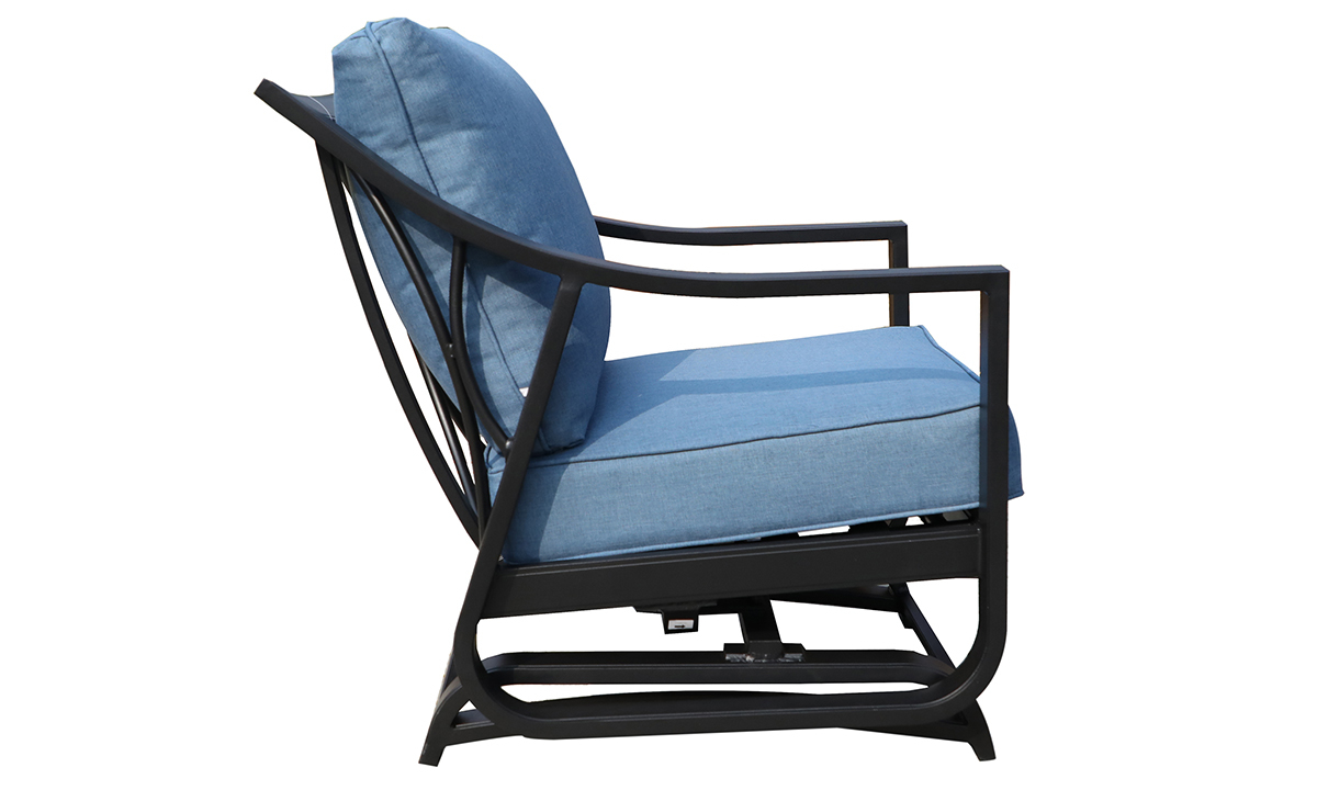 All-weather 30-inch outdoor glider chair with black aluminum frame and blue cushions - Side View