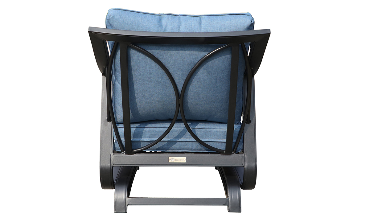 All-weather 30-inch outdoor glider chair with black aluminum frame and blue cushions - Back View