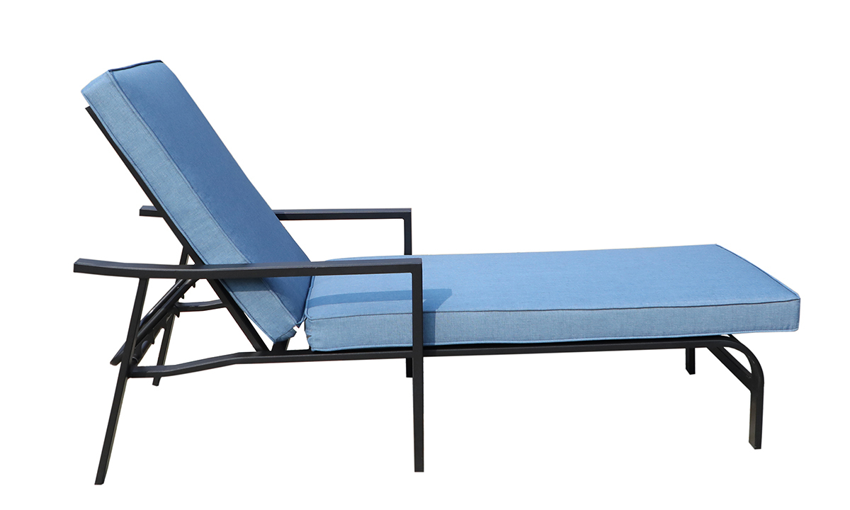 All-weather 66-inch outdoor chaise with black aluminum frame and blue cushion - Side View