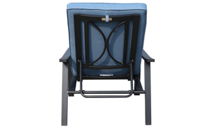 All-weather 66-inch outdoor chaise with black aluminum frame and blue cushion - Back view