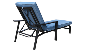 All-weather 66-inch outdoor chaise with black aluminum frame and blue cushion - Angled back view