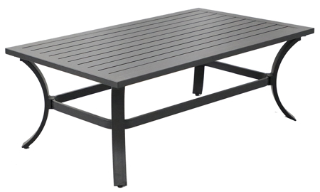 All-weather 48-inch outdoor cocktail table in black aluminum with plank style table top - Angled View
