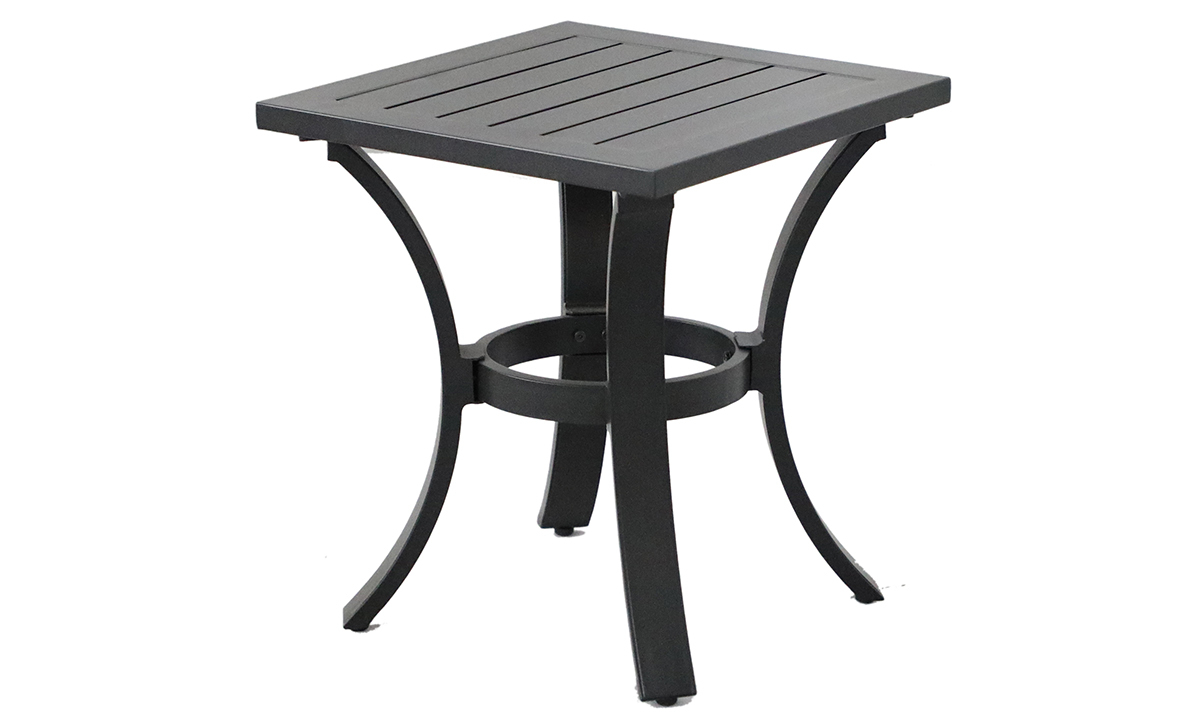 All-weather 18-inch square side table in black aluminum finish - angled view