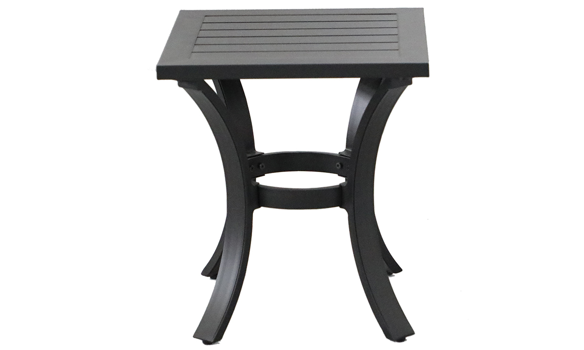 All-weather 18-inch square side table in black aluminum finish - front view Genoa Outdoor End Table