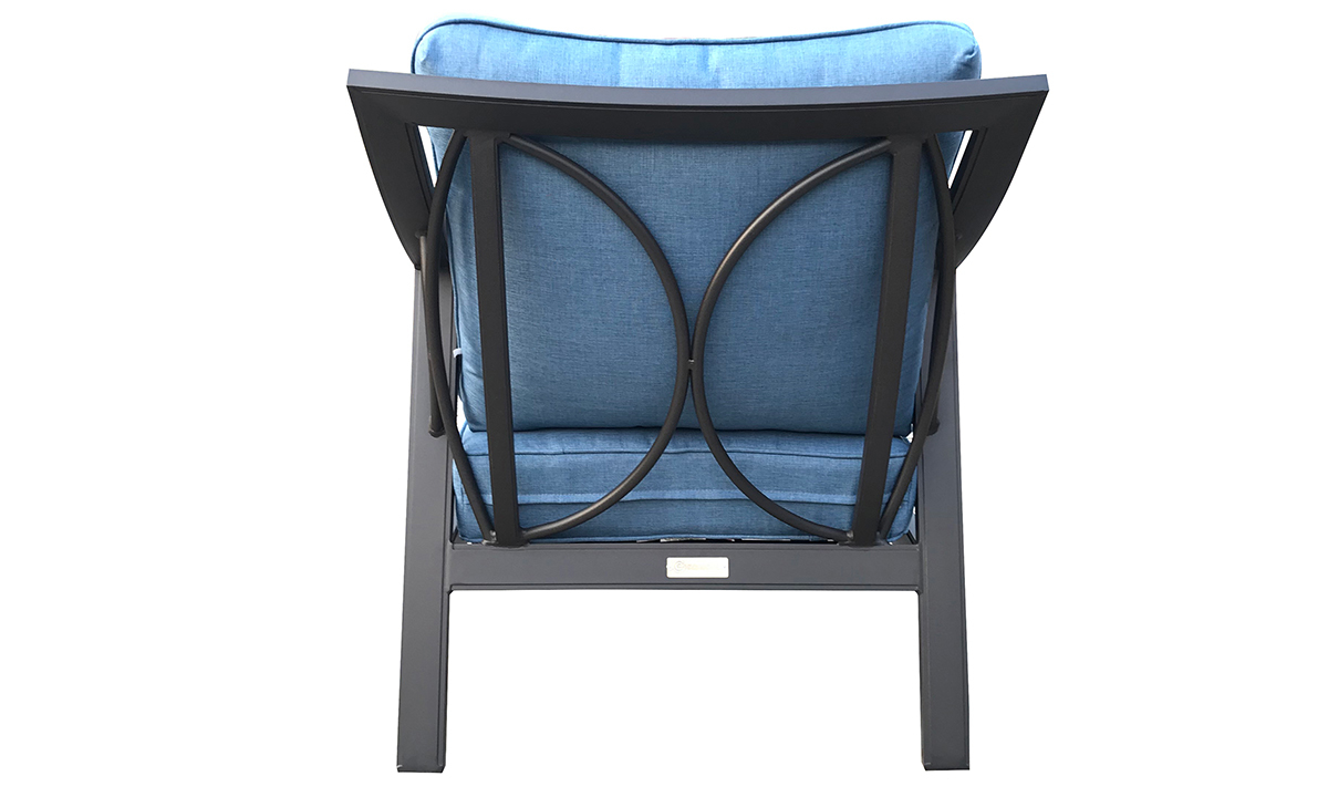 All-weather 30-inch outdoor club chair with black aluminum frame and blue cushions - Angled Back View