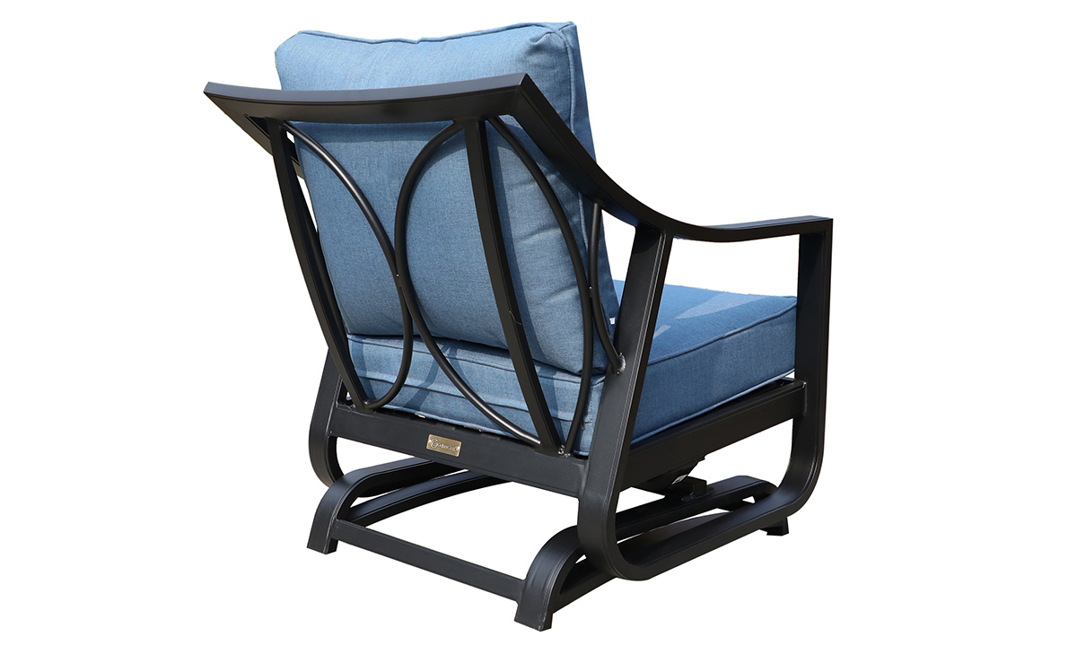 All-weather 30-inch outdoor glider chair with black aluminum frame and blue cushions - Angled Back View