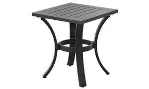 All weather 18-inch square outdoor side  table in black aluminum with plank-style top