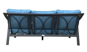 All-weather 79-inch outdoor sofa with black aluminum frame and blue cushions - back