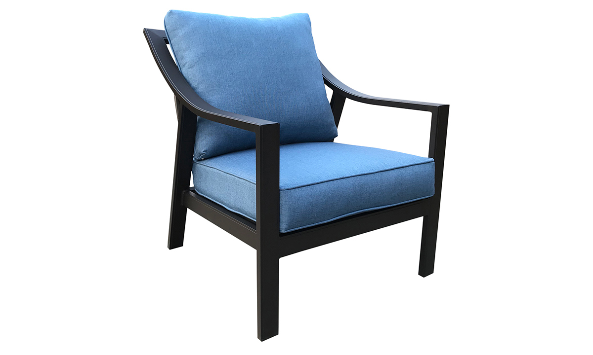 All-weather 30-inch outdoor club chair with black aluminum frame and blue cushions - Angled view