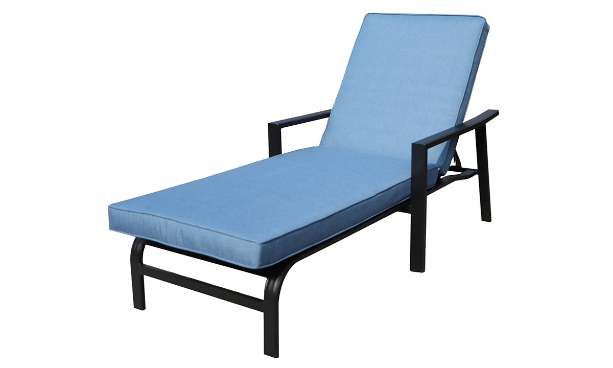 All weather 66-inch outdoor chaise with black aluminum frame and blue cushions - Angled view