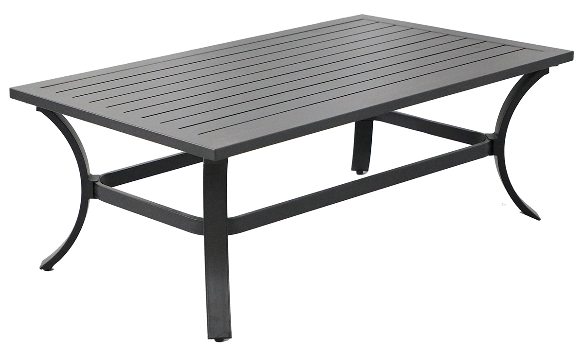 All-weather 48-inch black aluminum outdoor cocktail table with plank style top