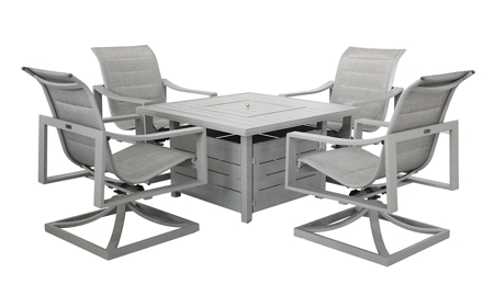 All weather 5-piece outdoor set with 4 swivel sling chairs and plank style firepit table in grey finish