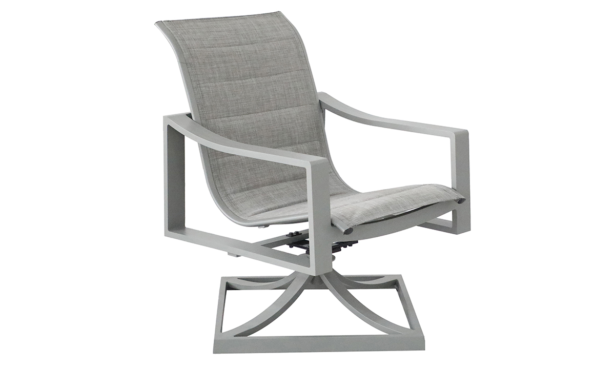 All-weather 38-inch swivel chair with aluminum frame and fabric sling seating in powder grey finish - Angled View