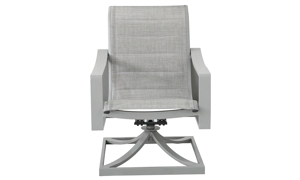 All-weather 38-inch swivel chair with aluminum frame and fabric sling seating in powder grey finish - Front View